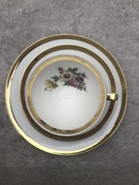 Vintage theetrio Bavaria goud-bloem