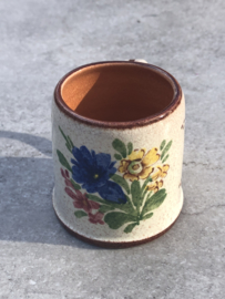 Fleurig kruikje bruin, beige met bloem motief