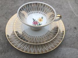 Vintage theetrio goud-roze-geel  Winterling Marktleuthen