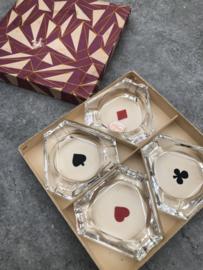 Vintage set asbakjes motief speelkaarten