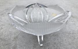 """Bewerkt glazen schaaltje op pootjes """"bleikristall"""""""