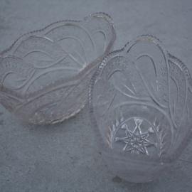 Set schalen bewerkt glas