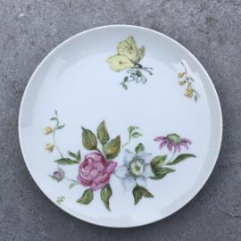 Klein vintage bordje vlinder-bloem