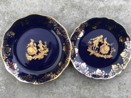 Miniatuur  schaaltjes Limoges France kobaltblauw goud