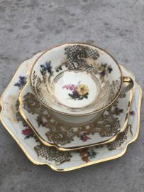 Vintage theetrio goudraster-bloem Mitterteich Bavaria