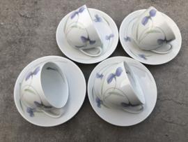Koffiekopjes Arzberg paarse bloem