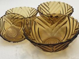 Set van 4 schalen geel glas