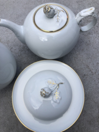 Koffie-, theepot en botervloot roos Alt Fürstenberg
