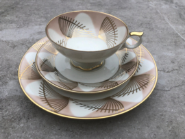 Vintage thee trio Bavaria elfenbein goud-roze