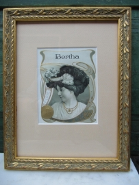 Antique gold frame with old image