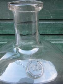 Oude brocante helder glazen fles van 10 liter