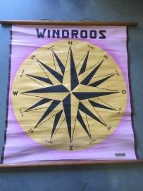 Oude schoolplaat op linnen/ windroos