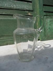 Brocante heldere glazen water- of wijnkan