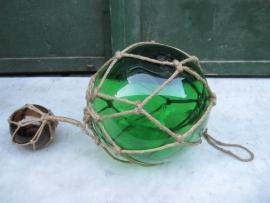 Brocante mondgeblazen glazen drijver 2 delig groen en geelsig