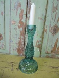 Glazen kandelaar groen*