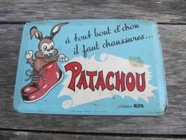 Oud Frans brocante blikje van kinderschoenen Patachou