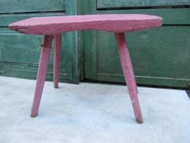 Brocante roze houten krukje