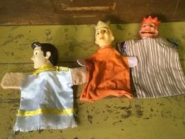 Oude poppenkast poppen, 3 stuks