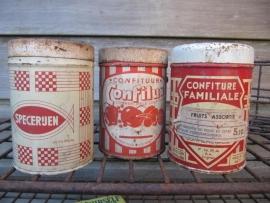 Brocante set van 3 Franse blikjes in rood en creme kleur