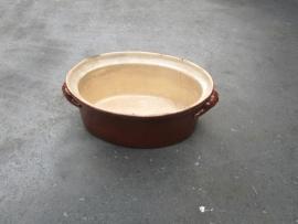Brocante geglazuurde aardewerken paté bak