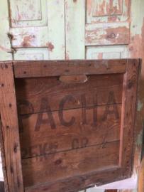 Oude houten koffiekist Pacha