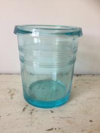 Brocant blauw glazen potje