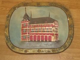 Plaquette van gips van het gemeentehuis van Borgloon