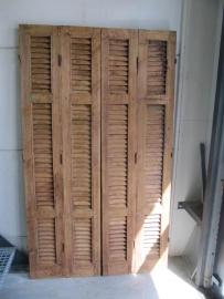 Antieke 4 delige louvre deur 190 cm hoog