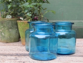 Brocante glazen blauwe potten met brede hals