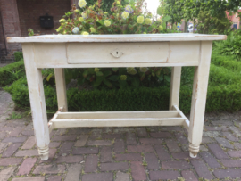 Brocant houten tafel in wit