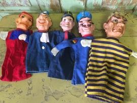 Oude popenkastpoppen/ set van 5