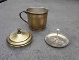 Metalen één kops koffiefilter compleet