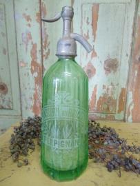 Antieke Franse siphon fles in groen