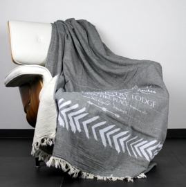 Plaid Country Lodge Dark Grey / White 130 x 180 cm