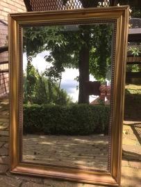 Brocante spiegel met geslepen glas