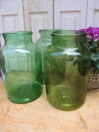 Grote oude glazen pot 10 liter, groen