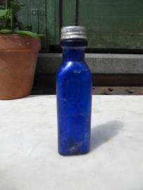 Antiek blauw Frans driehoekig flesje