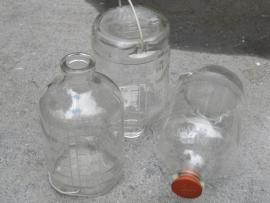 Oude glazen infuus flesjes set van 3 stuks