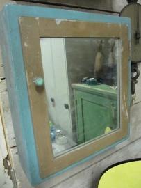 Brocant blauw kastje met spiegel