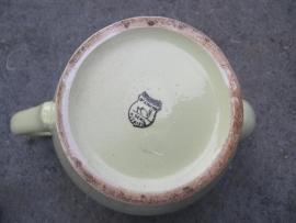 Brocante aardewerken oudgroene koffiepot