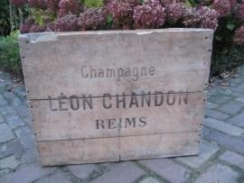 Antieke grote houten Champagne kist