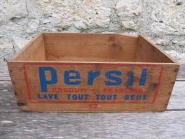 Antieke Franse kist van Persil zeep uit 1906