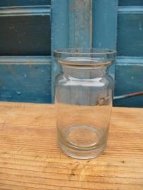 Oud dun glazen klein poeder / zalf glaasje