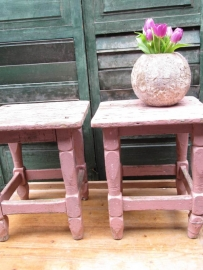 Very nice brocante wooden stool with pink ornamental feet