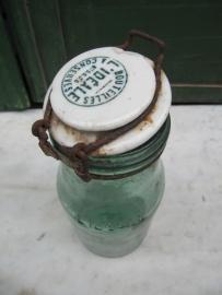 L'Idéale inmaakpot van 1 liter met bedrukte porseleinen deksel