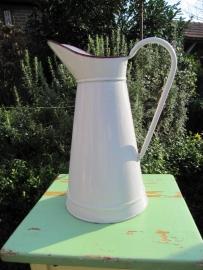 Brocante witte emaille water- of melkkan