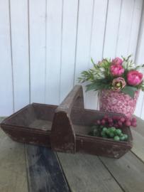 Brocante houten draagbak met hengsel