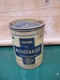 Oud groot Frans blik met mosterdpoeder