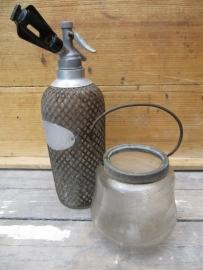 Brocante glazen pot/windlicht