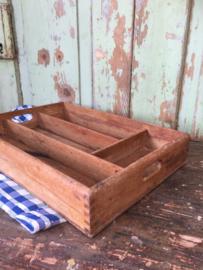 Brocant houten bestekbak